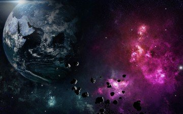 space, planet, the explosion, meteors