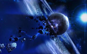 скалы, солнце, космос, планета, планеты, астероид