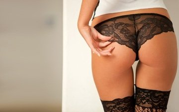 girl, ass, stockings, linen, lace, lingerie