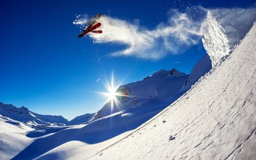 mountains, the sun, winter, photo, sport, extreme, beautiful, positive