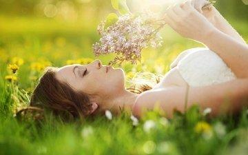 цветы, природа, девушка, настроение, шатенка