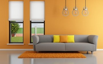 interior, pillow, orange, window, sofa, living room, couch, pillows, stylish design, minimalist