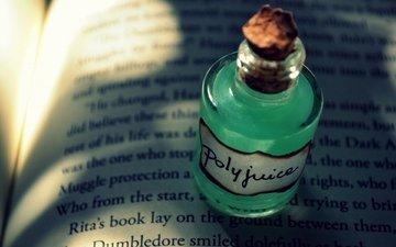 буквы, книга, бутылочка, пробка, бутылек