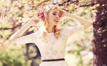 весна, женщина, смайл, в платье