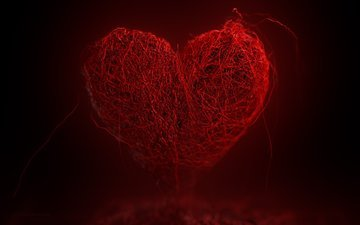 фон, сердце, нити, красное сердце