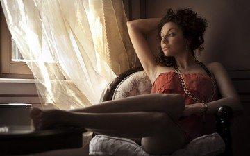 девушка, комната, окно