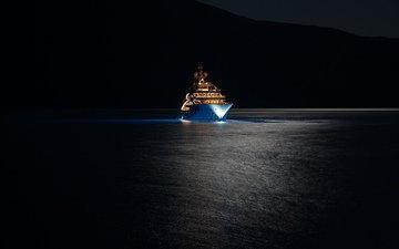 ночь, огни, море, яхта, супер, супер яхта, мега, горы., мега яхта, yaxht, yacht ace