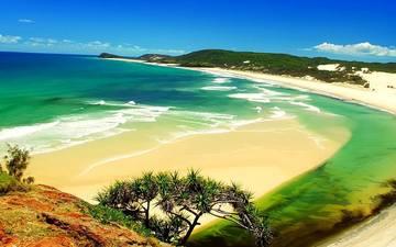 небо, облака, берег, море, пляж, залив, прилив
