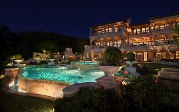 night, trees, lights, plants, house, pool, lighting