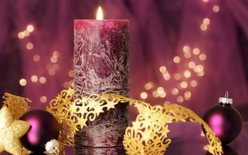 balls, purple, star, tape, candle, gold, lilac, flickering