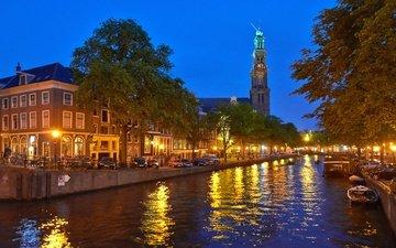огни, вечер, нидерланды, амстердам