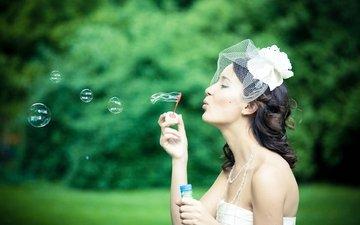 девушка, невеста, мыльные пузыри