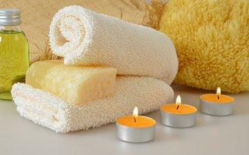 свечи, полотенце, спа, мыло, гель для душа, мочалка