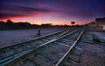 железная дорога, рельсы, закат, город