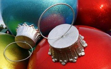 новый год, шары, украшения, макро, игрушки