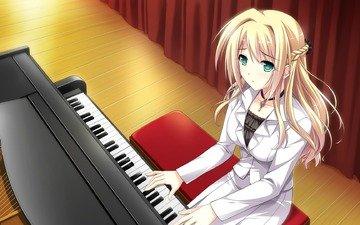 girl, music, piano