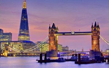 огни, вечер, лондон, англия, тауэрский мост