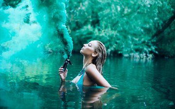 water, river, girl, smoke