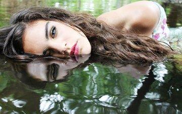 water, girl, reflection, hair, makeup