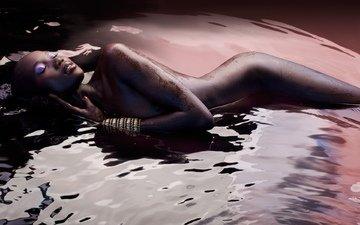 вода, обои, девушка, фото, лицо, макияж, тело, мулатка