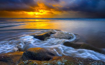 камни, закат, море, норвегия, норвегии, северное море, ставангер, hellesto beach