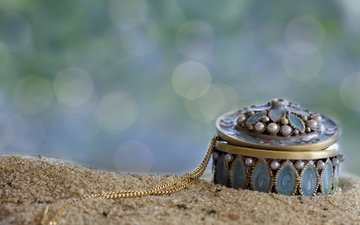 sand, chain, box, bokeh