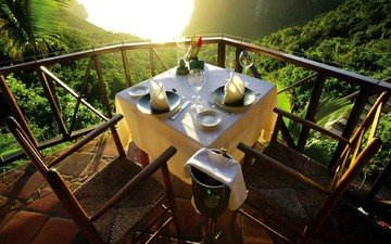 mountains, view, mountain, caribbean islands, table for two, saint lucia, a table for two