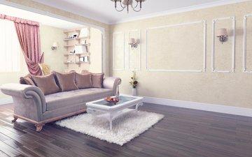 интерьер, комната, диван, столик
