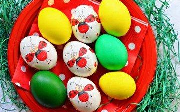 рисунки, пасха, яйца, праздник, тарелка