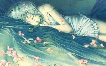 figure, girl, petals, sleeping, knife, bed, lying, braids
