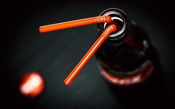 напитки, бутылка, трубочка, кока-кола, коуа-кола