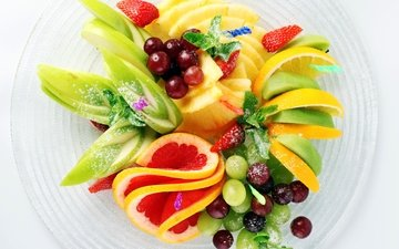 виноград, клубника, яблоко, киви, десерт, ананас, салат, фруктовый