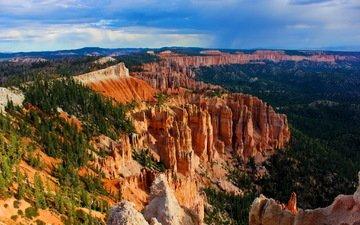 горы, лес, каньон, осыпи, брайс каньон национальный парк