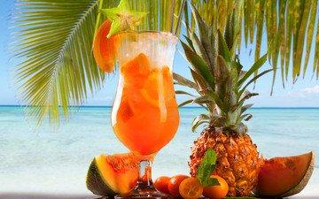 море, фрукты, бокал, пальма, апельсин, тропики, ананас, сок