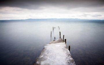 море, горизонт, мост, причал
