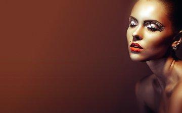 eyes, girl, shoulders, lips, face, makeup