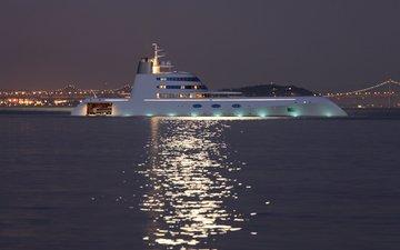 ночь, огни, вечер, гора, яхта, мосты, a, супер яхта, naght, море., мега яхта