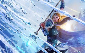 girl, ice, cloak, staff, magic, dota 2