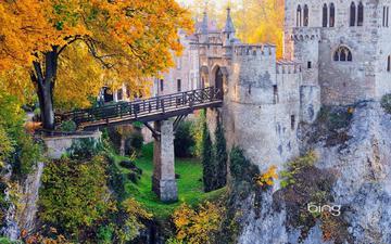 деревья, мост, замок, осень, германия, лихтенштейн