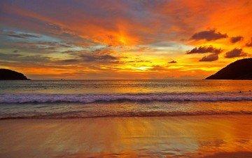 вода, закат, волна, океан, тайланд, прибой, пена, берег моря, всё золотое