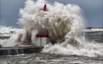 sea, lighthouse, wave, pier, the ocean, storm, foam