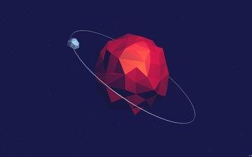 абстракция, фон, вектор, планета, спутник