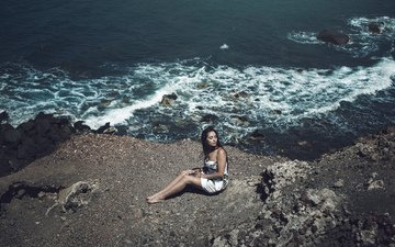 берег, девушка, море, брюнетка