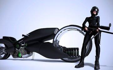 девушка, оружие, шлем, винтовка, мотоцикл, рендер, хонда