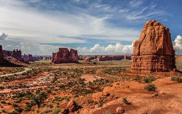 небо, облака, скалы, каньон, сша, штат юта, национальный парк арчес