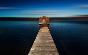 море, горизонт, пирс