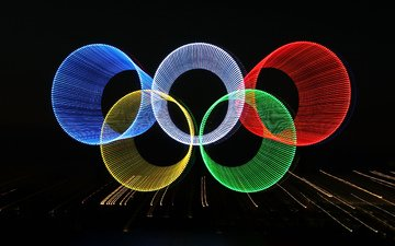 lights, abstraction, rays, olympics, ring