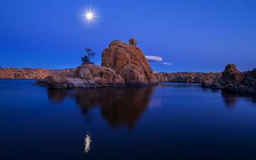 ночь, озеро, пейзаж, луна