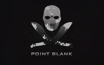 minimalism, black background, the game, skull, point blank