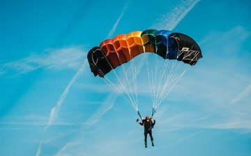 the sky, male, parachute